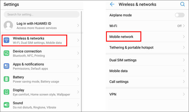 check the network settings when my phone says no sim card